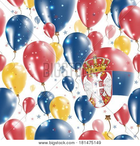 Serbia Independence Day Seamless Pattern. Flying Rubber Balloons In Colors Of The Serbian Flag. Happ
