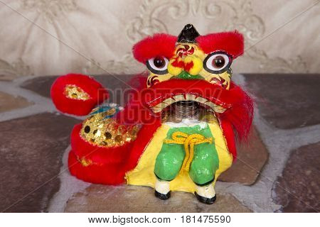 A lion dance figurine for the Chinese New Year celebration