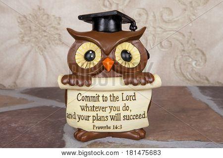 An owl figurine for a graduation celebration