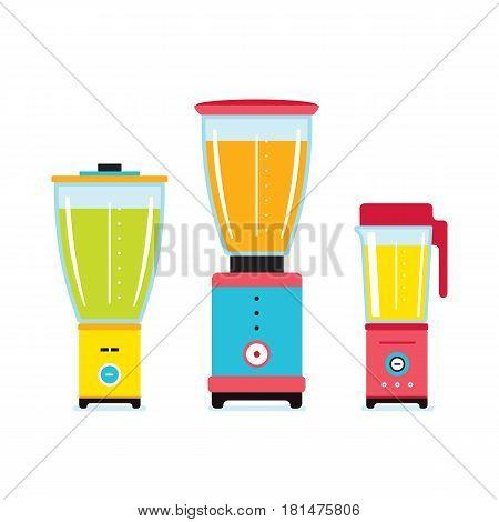 Blender Juicer Mixer Kitchen appliance icon set isolated on white background Vector illustration