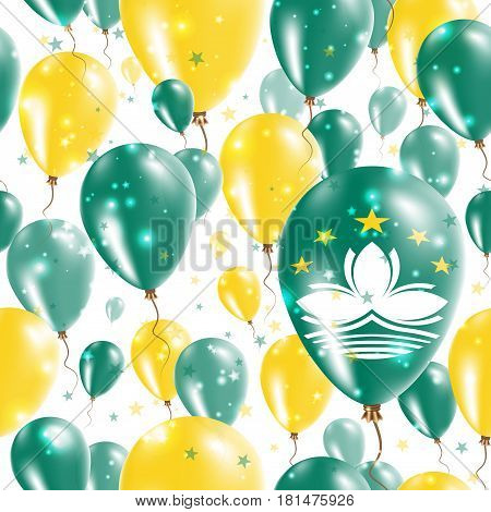 Macao Independence Day Seamless Pattern. Flying Rubber Balloons In Colors Of The Chinese Flag. Happy