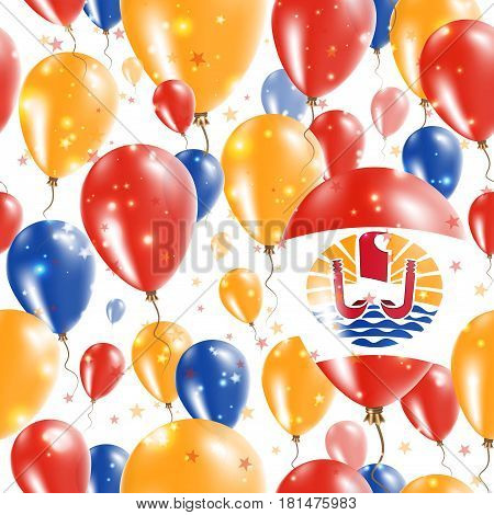 French Polynesia Independence Day Seamless Pattern. Flying Rubber Balloons In Colors Of The French P
