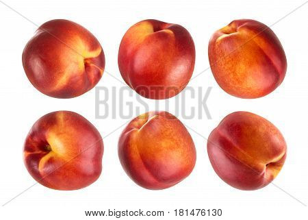 Peach isolated. Collection of whole nectarines isolated on white background with clipping path cut