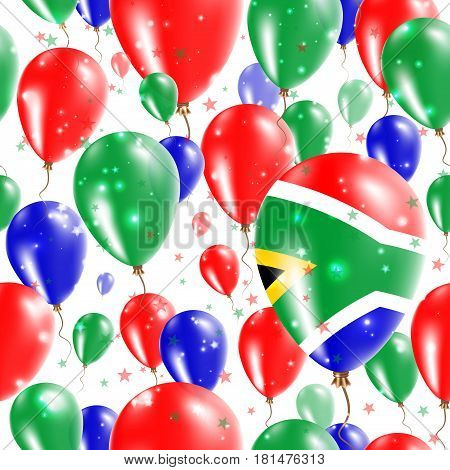 South Africa Independence Day Seamless Pattern. Flying Rubber Balloons In Colors Of The South Africa