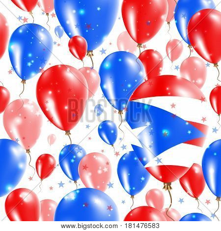 Puerto Rico Independence Day Seamless Pattern. Flying Rubber Balloons In Colors Of The Puerto Rican