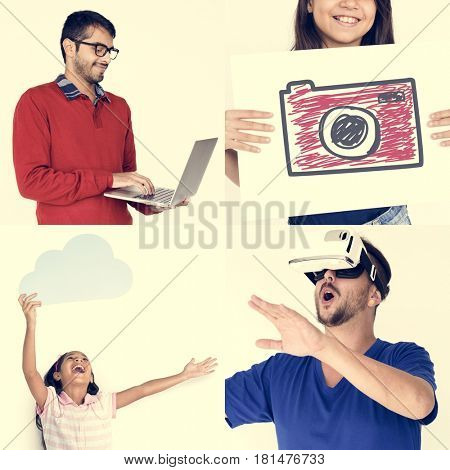 Set of Diversity People with Technology Icons Studio Collage