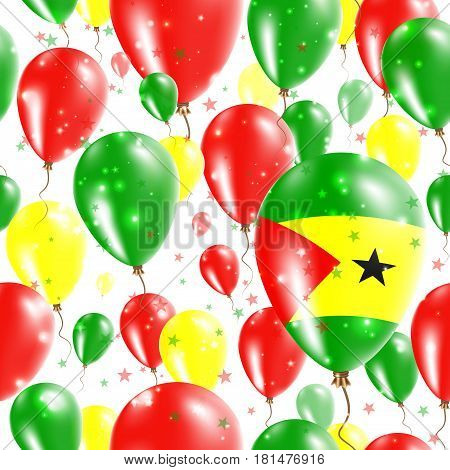 Sao Tome And Principe Independence Day Seamless Pattern. Flying Rubber Balloons In Colors Of The Sao