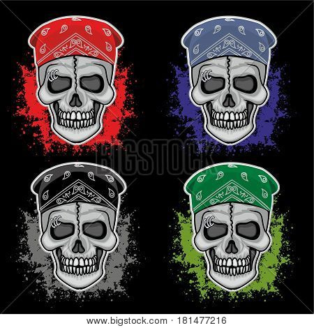 set, bandana skull, grunge vintage design t shirts
