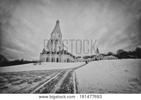 The Church Of The Ascension In Kolomenskoye Black Nad White Tonned, Moscow, Russia