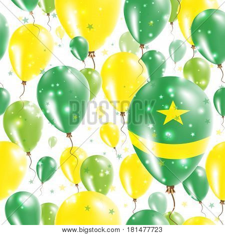 Mauritania Independence Day Seamless Pattern. Flying Rubber Balloons In Colors Of The Mauritanian Fl