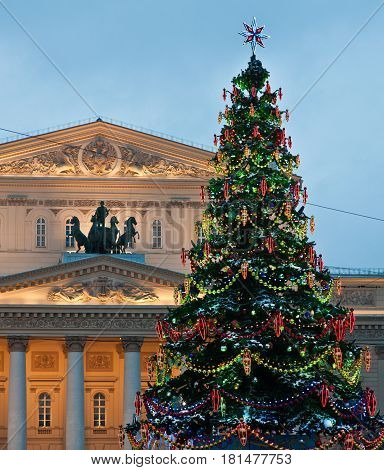 Bolshoi Theatre chrismas New Year tree building facade in Moscow Russia