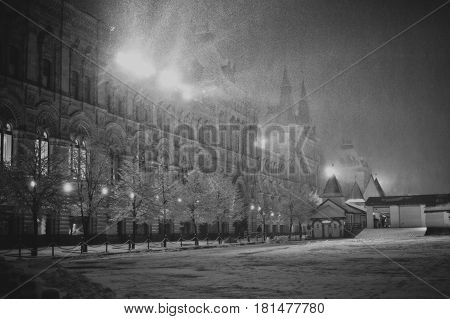 GUM department store in winter at night black and white tonned Red square Moscow