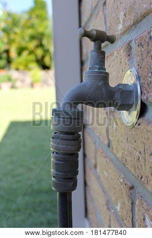 Close up of garden tap on wall