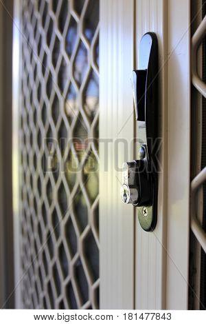 Close up of suburban security sliding door