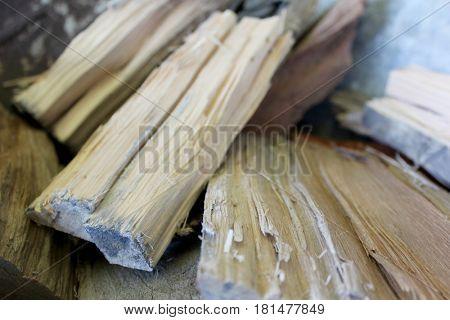 Close up of fresh cut firewood