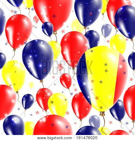 Chad Independence Day Seamless Pattern. Flying Rubber Balloons In Colors Of The Chadian Flag. Happy