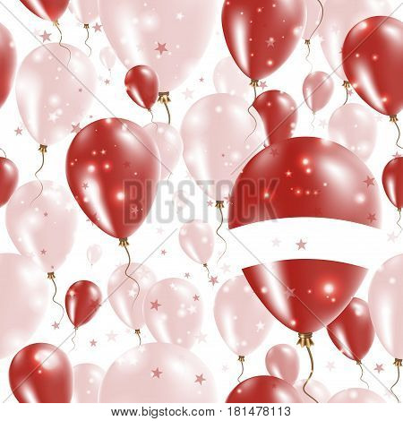 Latvia Independence Day Seamless Pattern. Flying Rubber Balloons In Colors Of The Latvian Flag. Happ