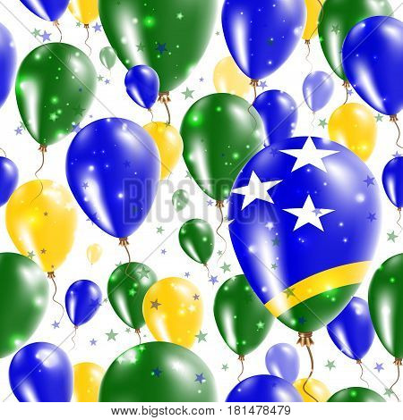 Solomon Islands Independence Day Seamless Pattern. Flying Rubber Balloons In Colors Of The Solomon I