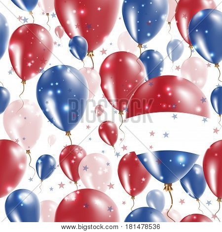 Bes Islands Independence Day Seamless Pattern. Flying Rubber Balloons In Colors Of The Dutch Flag. H