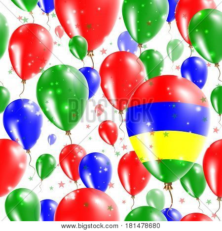 Mauritius Independence Day Seamless Pattern. Flying Rubber Balloons In Colors Of The Mauritian Flag.