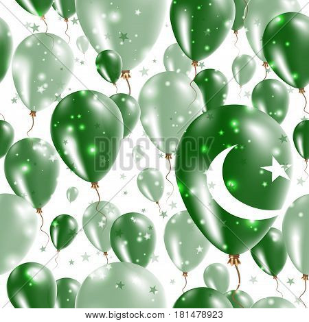 Pakistan Independence Day Seamless Pattern. Flying Rubber Balloons In Colors Of The Pakistani Flag.