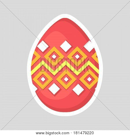 Easter pink egg icon isolated on a gray background. Volumetric with a white outline, with colored contrasting ornament of  zig zag line and rhombus. Vector Illustration. Spring holiday.