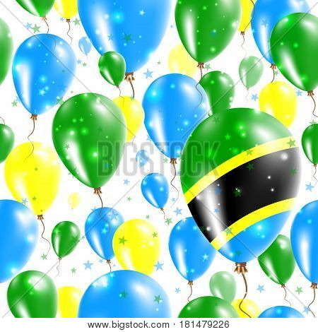 Tanzania Independence Day Seamless Pattern. Flying Rubber Balloons In Colors Of The Tanzanian Flag.