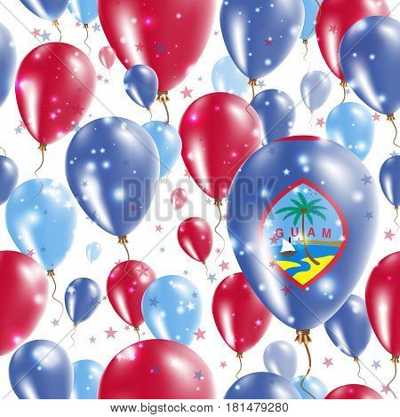 Guam Independence Day Seamless Pattern. Flying Rubber Balloons In Colors Of The Guamanian Flag. Happ