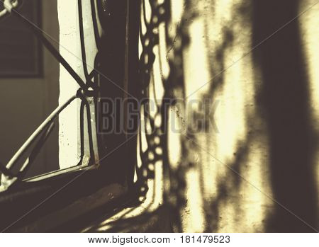 Sunny light in the morning with iron bars
