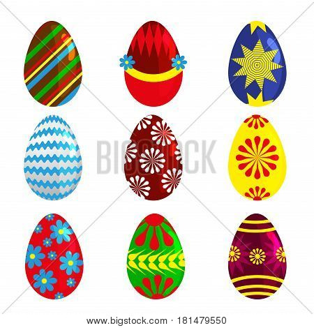 Easter eggs spring colorful isolated celebration decoration holiday icons. Happy colorful season pattern traditional paint gift. Vector illustration easter eggs for Easter holidays design.
