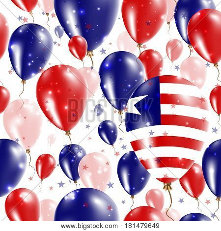 Liberia Independence Day Seamless Pattern. Flying Rubber Balloons In Colors Of The Liberian Flag. Ha