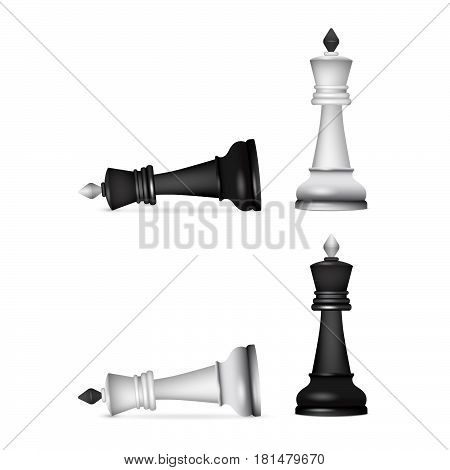 Victory chess figures chessmen isolated on white background