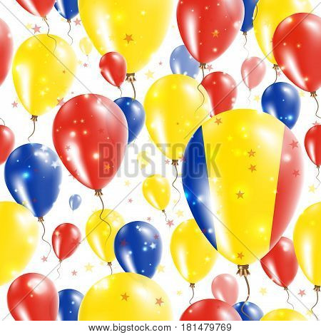 Romania Independence Day Seamless Pattern. Flying Rubber Balloons In Colors Of The Romanian Flag. Ha