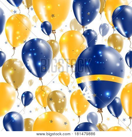 Nauru Independence Day Seamless Pattern. Flying Rubber Balloons In Colors Of The Nauruan Flag. Happy