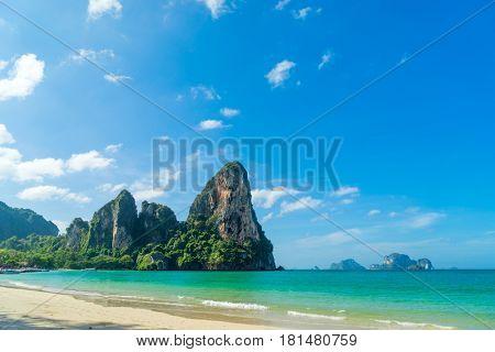 Railay West beach in Ao Nang, Krabi province, Thailand