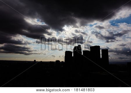 Los Angeles skyline silhouette with dark clouds in the sky