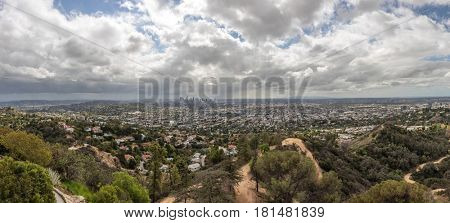 Panorama skyline of Los Angeles with San Fernando Valley, California