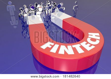 Fintech Magnet Attracting Customers Finance Technology 3d Illustration