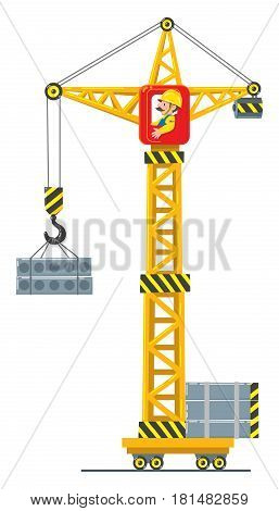 Construction crane drived by funny man worker lifts the building boards. Children vector illustration