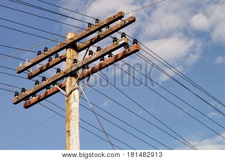 Vintage wooden electrical pole and blue sky