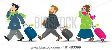 Set of funny fast-paced passengers, man and woman with suitcases in winter clothing, coats and scarfs. Vector illustration