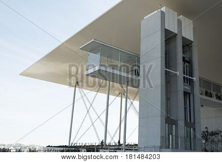 ATHENS, GREECE - March 05 2017: Elevator on the Stavros Niarchos Foundation Cultural Center in summer
