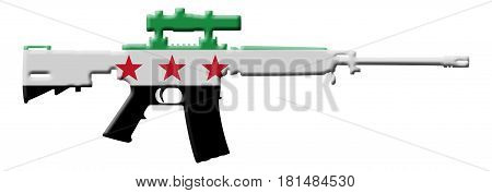 Fighting and Conflict in Syria An outline of an assault rifle with the flag of Syria isolated on white 3D Illustration
