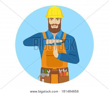 Worker showing time-out sign with hands. Body language. Portrait of worker in a flat style. Vector illustration.
