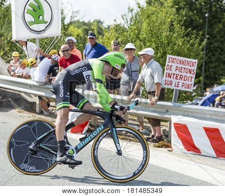 Coursac France - July 26 2014: The Dutch cyclist Laurens Ten Dam ( Belkin Pro CyclingTeam) pedaling during the stage 20 ( time trial Bergerac - Perigueux) of Le Tour de France 2014.