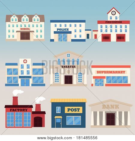 Buildings icon set. Vector illustration in flat style