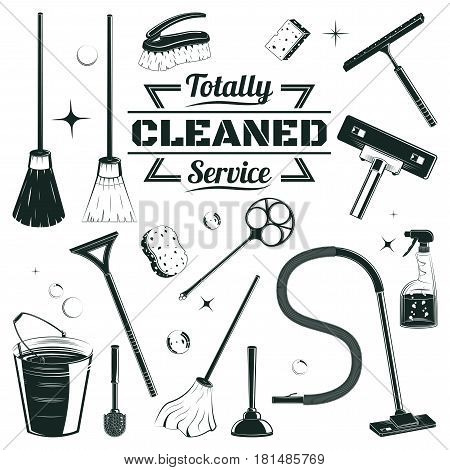 Hand drawn cleaning elements set with brooms bucket mop spray hoover plunger brush sponge isolated vector illustration