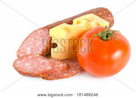 Cheese, tomato and sausage isolated on white background