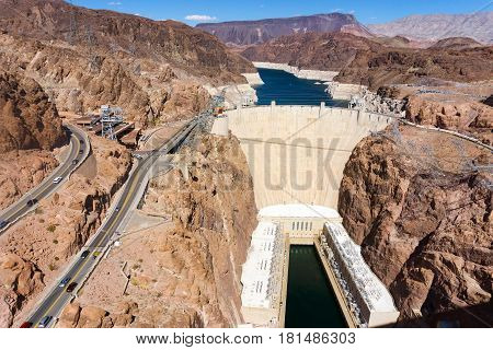 High angle view of Hoover Dam near Las Vegas Nevada