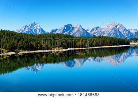 Beautiful view of Grand Teton National Park in Wyoming